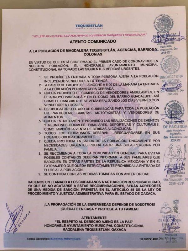 Confirman primer caso de Covid en Magdalena Tequisistlán y toman medidas urgentes
