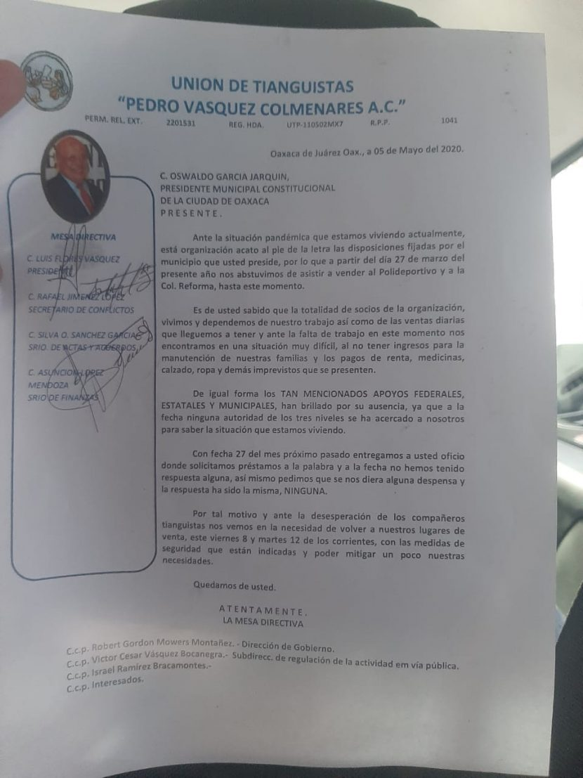 Tianguistas de Oaxaca anuncian que regresarán a vender a partir del 8 de mayo