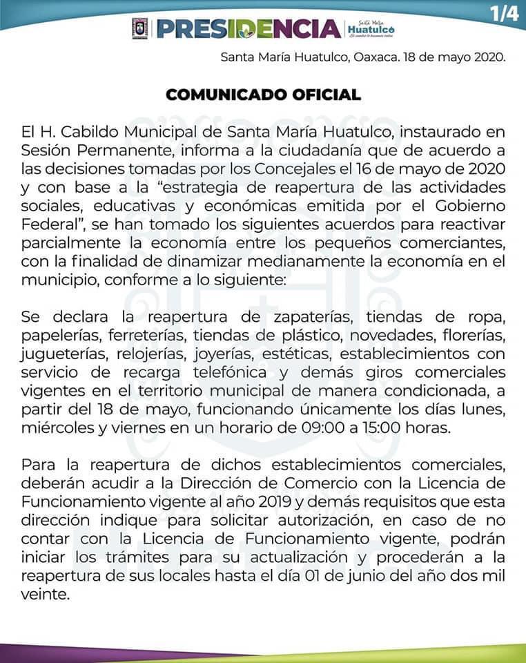 Reanudan actividades en Huatulco de manera gradual