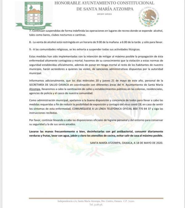 Por contagios Santa María Atzompa sanitizarán la cabecera municipal y agencias