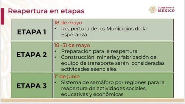 Actividades podrían reanudarse el próximo lunes en municipios libres de contagio de Covid-19