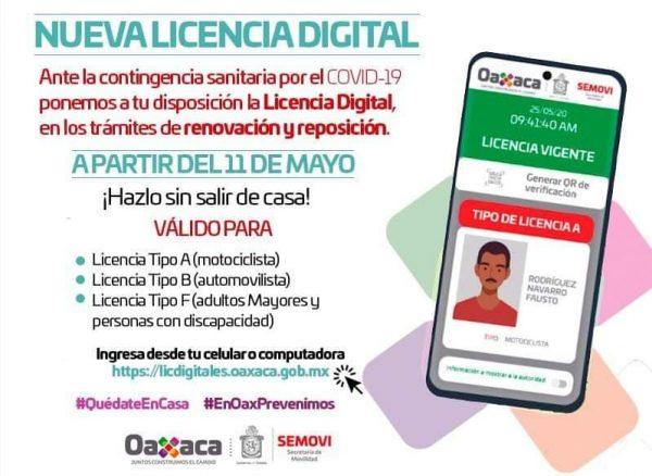 En Oaxaca, a partir de este lunes reposición y renovación de licencias será digital