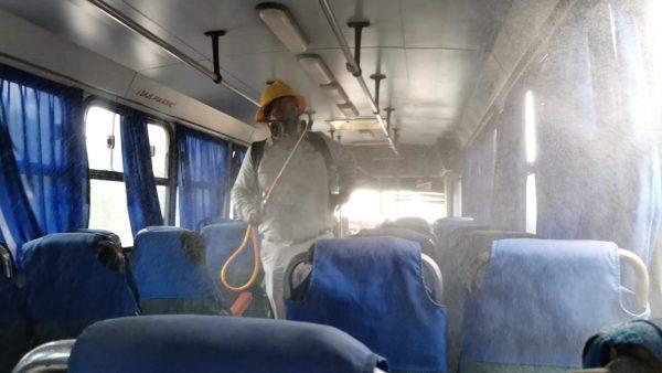 Instalan 4 puntos para sanitizar vehículos en Tuxtepec