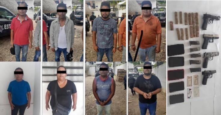 Tras operativo de seguridad en Temascal detienen a 8 personas armadas