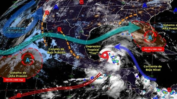 "Depresión tropical ""Tres"" podría intensificarse a tormenta tropical"