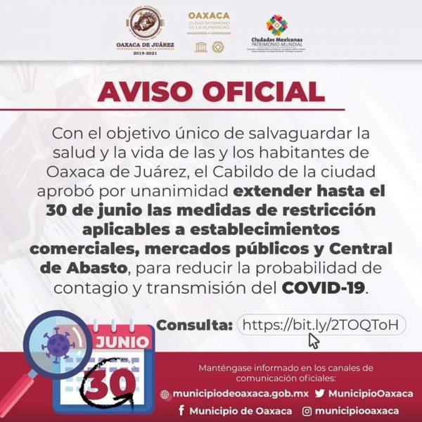 Ayuntamiento de Oaxaca de Juárez extiende restricciones a comercios, mercados y central de abasto hasta el 30 de junio