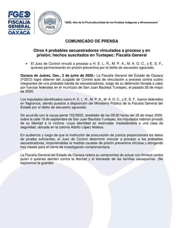 Vinculan a proceso a cuatro presuntos secuestradores de Tuxtepec