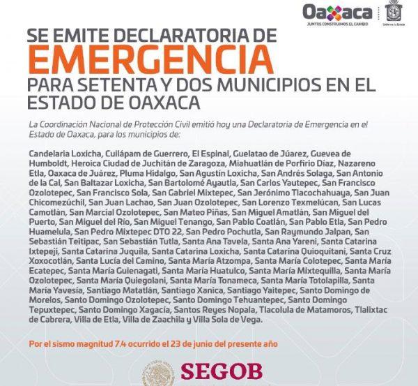 Gobierno Federal emite declaratoria de emergencia para 72 municipios de Oaxaca