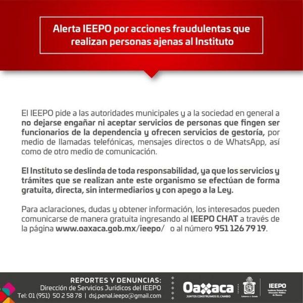 Alerta IEEPO a las autoridades municipales y sociedad en general sobre falsos gestores