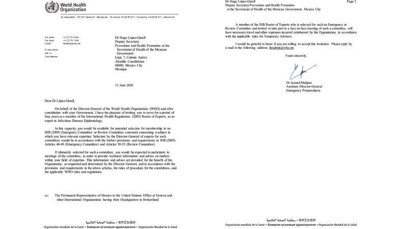 López-Gatell sera parte del grupo de expertos de la OMS