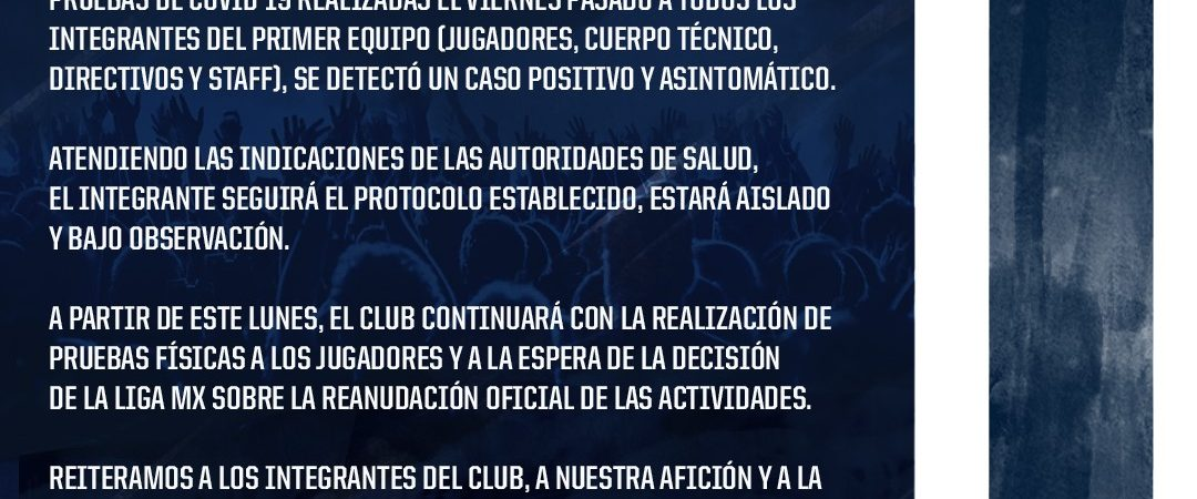 """Confirman un caso de covid en el Club """"Rayados de Monterrey"""""""