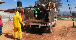 Sanitizan unidades de recolección de residuos, de municipios de Oaxaca por covid
