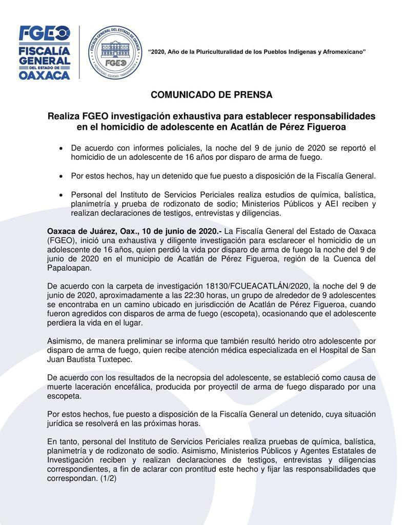Muerte de joven en Acatlán, fue por disparo de una escopeta: FGEO