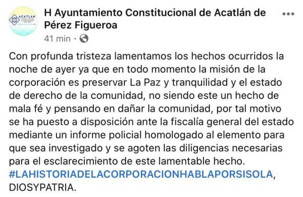 Gobierno de Acatlán pone a disposición de la Fiscalía al policía que asesinó al joven