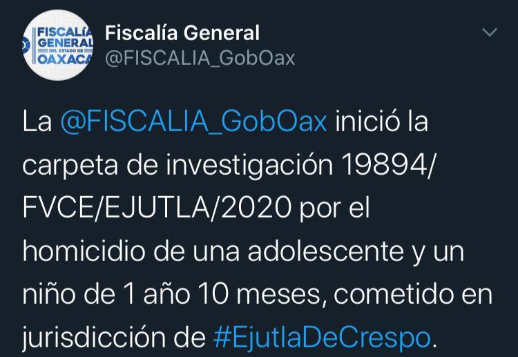 Inicia Fiscalía carpeta de investigación por homicidio en Ejutla Oaxaca
