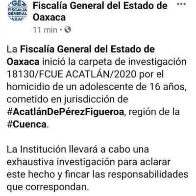 Inicia Fiscalía carpeta de investigación por homicidio de joven, en Acatlán