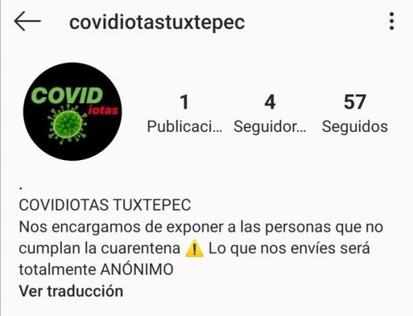 """Surge """"Covidiotas Tuxtepec"""" cuenta en Instagram para exhibir a quienes no cumplen con la cuarentena"""
