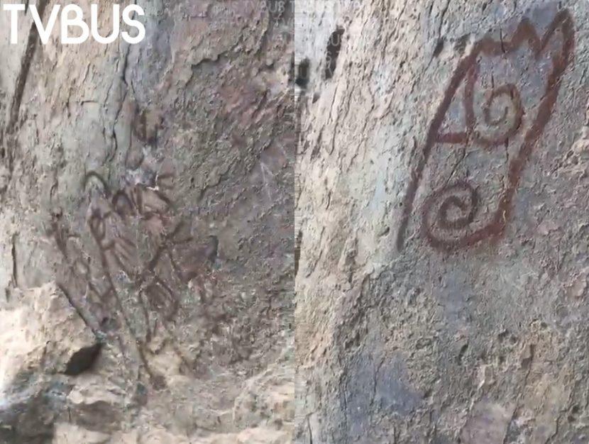 Descubren pintura rupestre en roca desprendida por terremoto