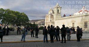 Protestan policías de Oaxaca de Juárez, exigen que se realice la prueba de Covid a todos los elementos