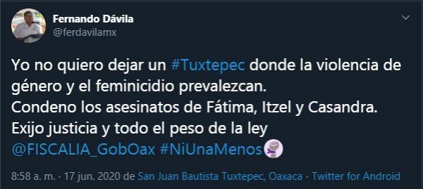 Dávila condena feminicidios en Tuxtepec