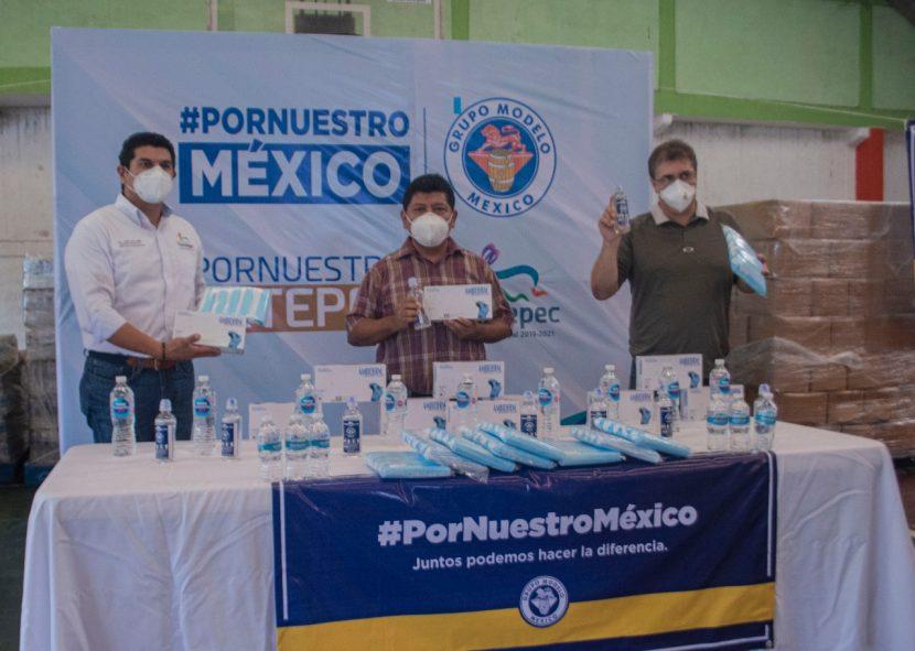 Gobierno de Tuxtepec recibe apoyo de Grupo Modelo en la lucha contra la pandemia