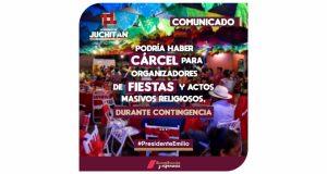 En Juchitán podrían sancionar con cárcel a organizadores de fiestas y actos masivos o religiosos