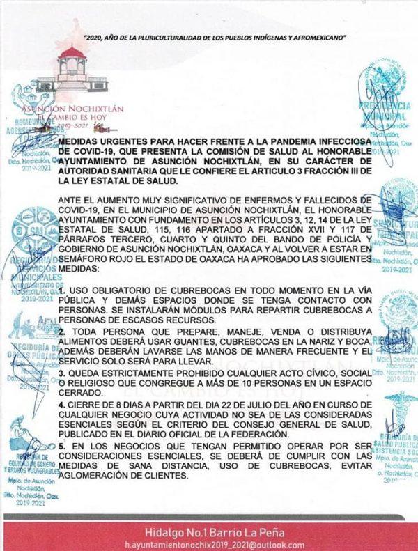Endurecen medidas ante covid-19 en Nochixtlán