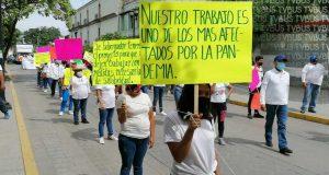 Trabajadores de ferias se manifiestan en Oaxaca, exigen que les permitan trabajar