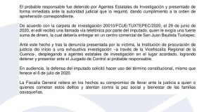 Fiscalía aprehende a sujeto que intentó extorsionar a Presidente de Ayotzintepec