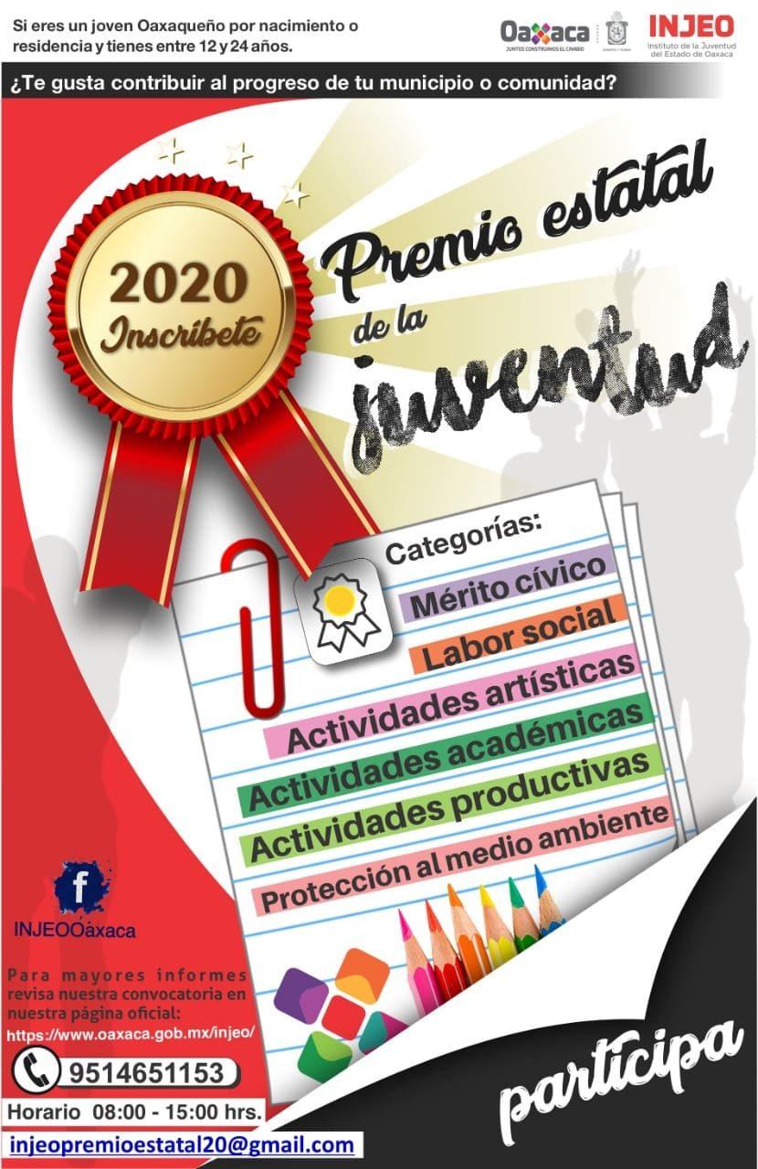 Injeo lanza la convocatoria Premio Estatal de la Juventud 2020