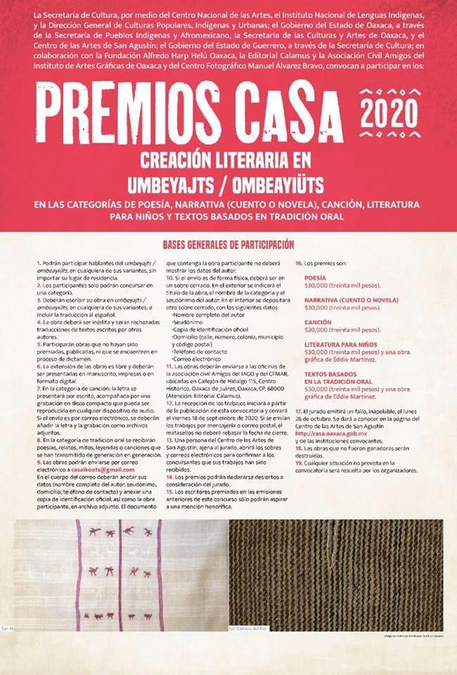 Lanzan convocatorias de Premios CASA 2020, dirigidos a hablantes del Mazateco y Chinanteco