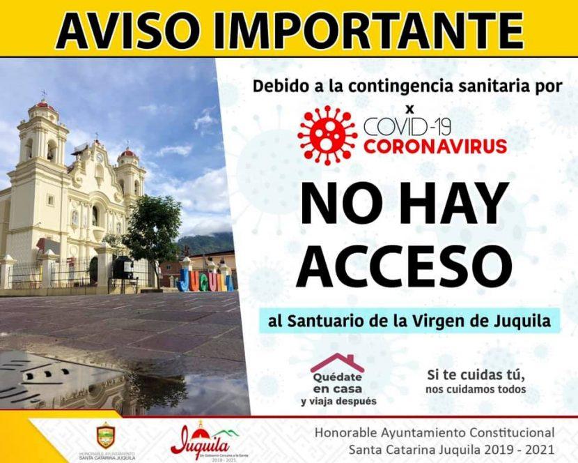 Cerrado acceso a santuario de la Virgen de Juquila por pandemia