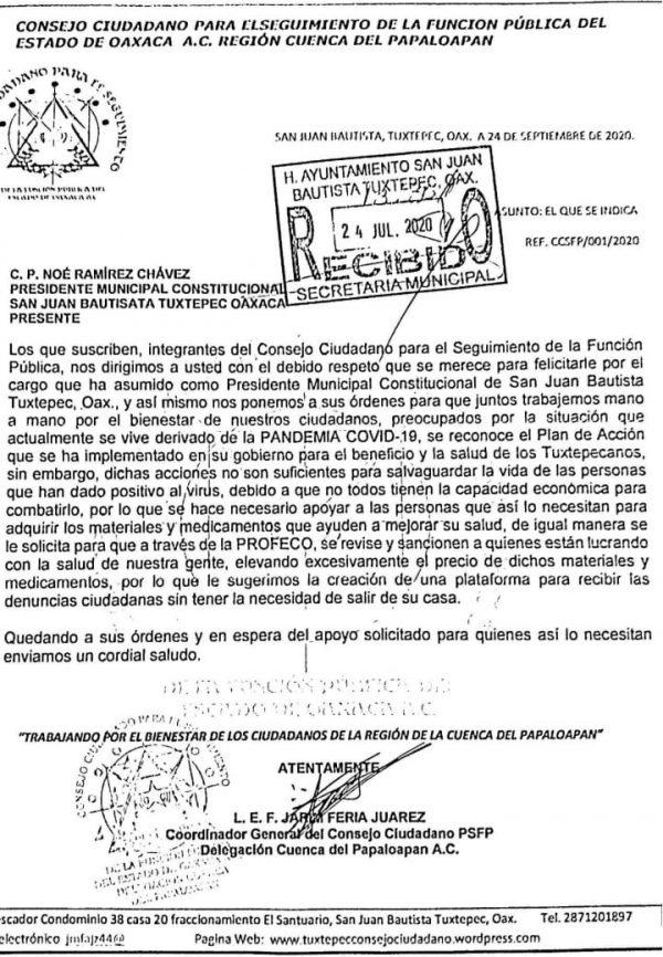 Consejo Ciudadano pide a Presidente de Tuxtepec, sancionar a quienes lucren con venta de medicamentos