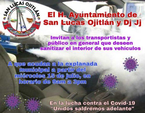 En Ojitlán, realizarán campaña de sanitización a vehículos