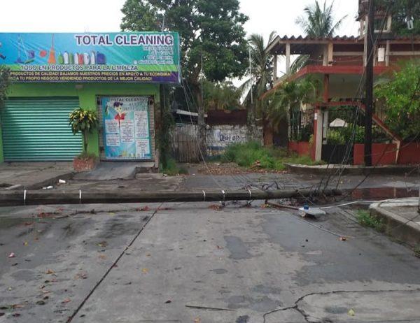 Lluvia deja árbol caído y sin luz a colonos de Tuxtepec