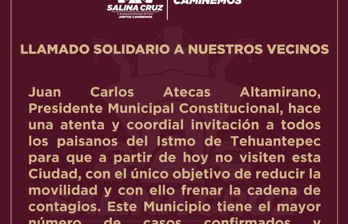 Gobierno de Salina Cruz cierra accesos al municipio para disminuir contagios de Covid