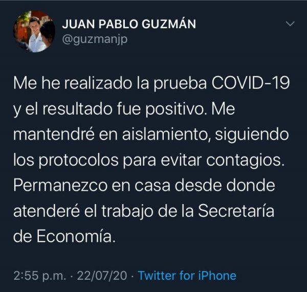 Positivo a covid, Secretario de Economía en Oaxaca