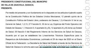 Los Servicios de Salud de Oaxaca exhorta a suspender actividades que concentren personas en Zaachila