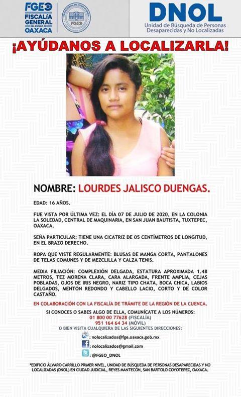 Desaparece jovencita en Tuxtepec, a casi un mes emiten ficha de búsqueda