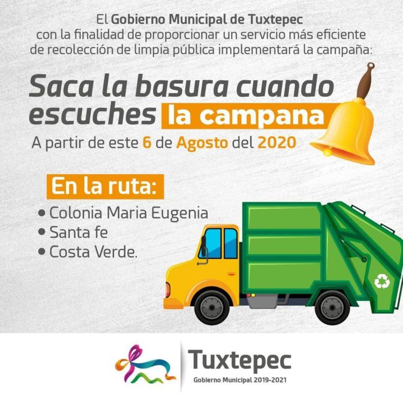 """Regresarán a la """"campana"""", para recolectar la basura en 3 colonias de Tuxtepec"""