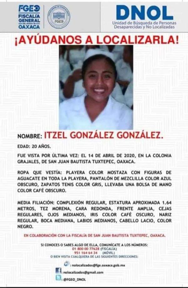 Se cumplen 4 meses de la desaparición de Itzel en Tuxtepec, familiares la esperan con vida