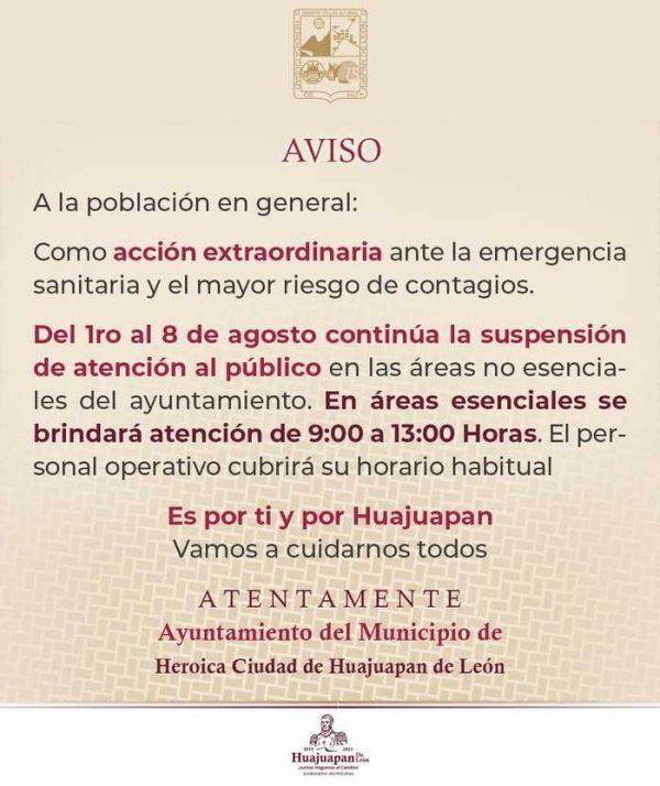 Continuarán suspendias actividades no esenciales en ayuntamiento de Huajuapan de León