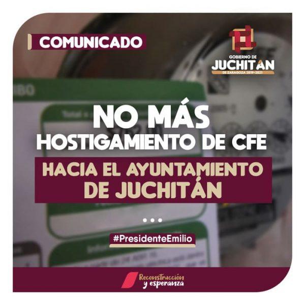 Gobierno de Juchitán denuncia hostigamiento de CFE