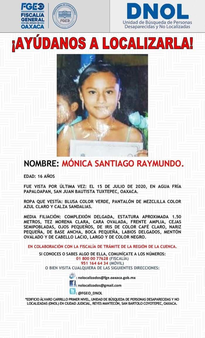 Desaparece jovencita de 16 años en Tuxtepec, emiten ficha de búsqueda