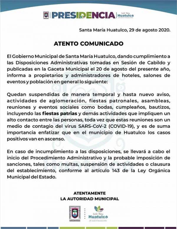 Gobierno de Huatulco suspende fiestas, incluyendo las patrias