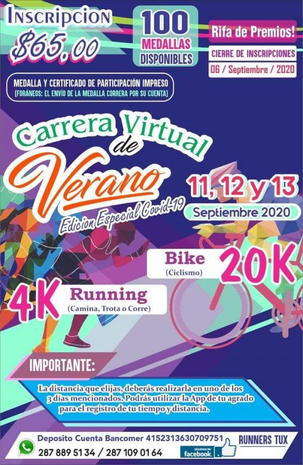 """""""Runners Tux"""" invita a participar en la Carrera Virtual de Verano 2020, edición especial COVID-19"""