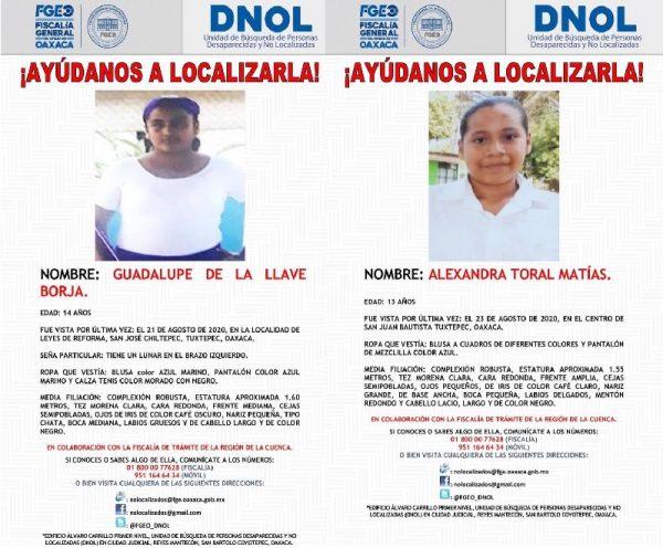 Reportan otras 2 jóvenes más desaparecidas en la Cuenca; una es de Tuxtepec