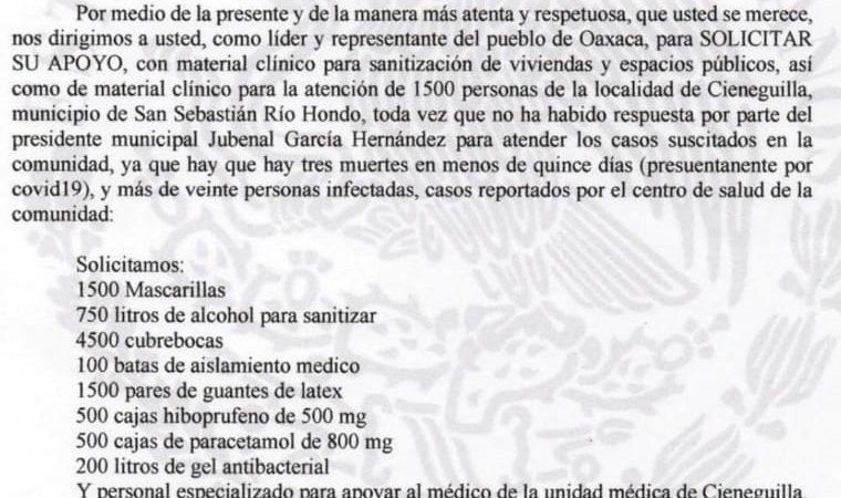 Exhiben ante gobernador nulo apoyo de Presidente de San Sebastián Río Hondo, para acciones contra Covid