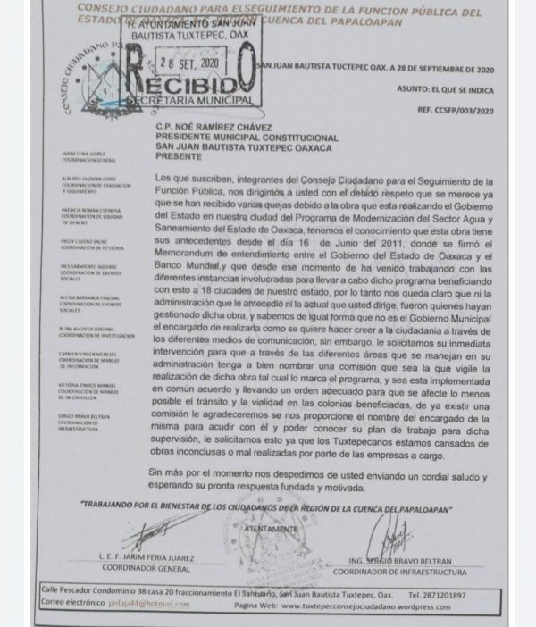 Consejo Ciudadano pide formar comisión que informe sobre obra del agua en Tuxtepec