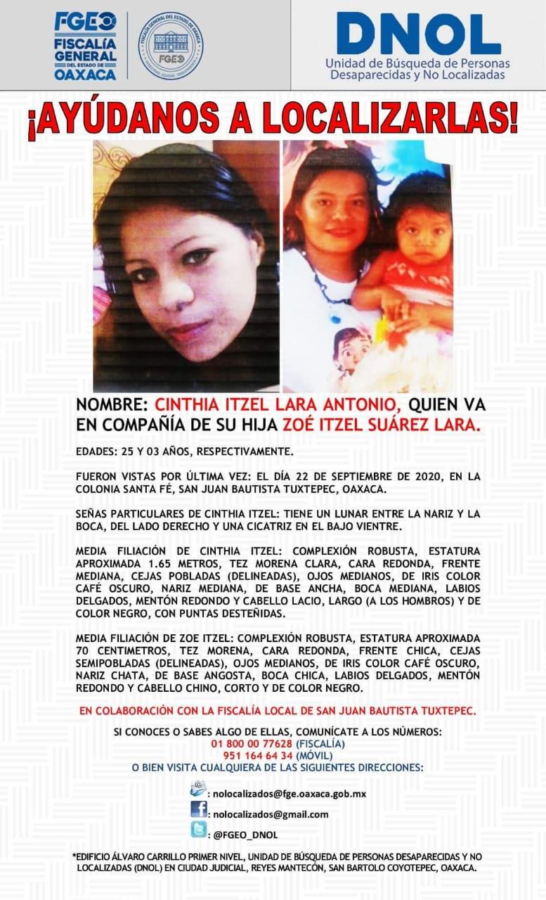 Desaparece joven madre y su hija en Tuxtepec